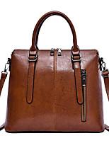cheap -Women's Zipper Faux Leather / PU Top Handle Bag Solid Color Black / Brown / Wine