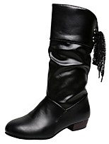 cheap -Women's Boots Low Heel Round Toe PU Mid-Calf Boots Fall Black / White / Red
