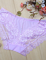 cheap -Women's Lace Briefs - Normal Mid Waist Black Purple Blushing Pink One-Size