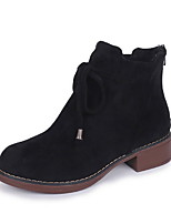 cheap -Women's Boots Flat Heel Round Toe Suede Booties / Ankle Boots Fall & Winter Black / Khaki