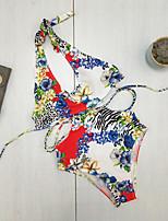 cheap -Women's Basic Blue Halter Cheeky High Waist One-piece Swimwear - Floral Geometric Lace up Print S M L Blue