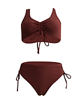 cheap -Women's Basic Wine Lavender Triangle Cheeky Bikini Swimwear - Solid Colored Racerback Bow Criss Cross S M L Wine