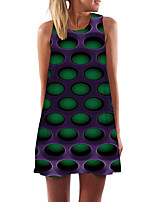 cheap -Women's Day Clutches Street Street chic Sheath Dress - Abstract Print Purple Royal Blue Green XS S M L