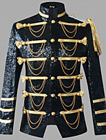 cheap -Prince Victorian Steampunk Napoleon Jacket Winter Suits & Blazers Men's Sequin Costume Black / Silver / Red Vintage Cosplay Party Halloween Long Sleeve / Coat