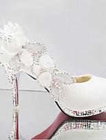 cheap -Women's Wedding Shoes Stiletto Heel Round Toe PU Winter White / Red / Pink
