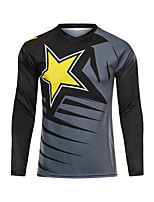 cheap -21Grams Men's Long Sleeve Cycling Jersey Downhill Jersey Dirt Bike Jersey Winter 100% Polyester Black Red / Yellow Black / Orange Bike Jersey Top Mountain Bike MTB Road Bike Cycling Thermal / Warm UV
