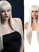 cheap -Synthetic Lace Front Wig Natural Straight Silky Straight With Bangs Lace Front Wig Long Platinum Blonde Synthetic Hair 18-24 inch Women's Cosplay Heat Resistant Party Blonde