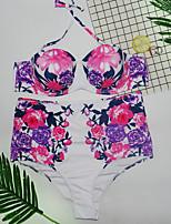 cheap -Women's Basic Blushing Pink Halter Cheeky One-piece Swimwear - Floral Print XXL XXXL Blushing Pink