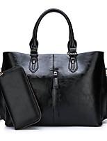 cheap -Women's Tweed / PU Bag Set Solid Color 2 Pieces Purse Set Black / Brown