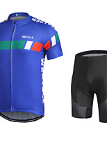 cheap -WECYCLE Men's Short Sleeve Cycling Jersey with Shorts Winter Bule / Black Bike Clothing Suit Breathable 3D Pad Warm Quick Dry Reflective Strips Sports Solid Color Mountain Bike MTB Road Bike Cycling
