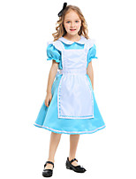 cheap -Maid Costume Dress Masquerade Flower Girl Dress Girls' Movie Cosplay A-Line Slip Cosplay Halloween Light Blue Dress Apron Bow Halloween Carnival Masquerade Polyester / Headwear / Headwear