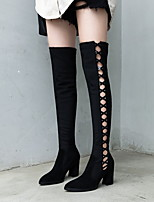 cheap -Women's Boots Chunky Heel Round Toe Suede Knee High Boots Winter Black