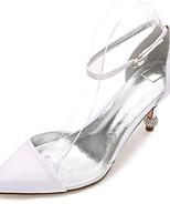 cheap -Women's Wedding Shoes Stiletto Heel Pointed Toe Rhinestone Satin Sweet / British Spring & Summer Black / White / Purple