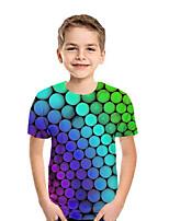 abordables -Enfants Garçon Actif Punk & Gothique Bloc de Couleur 3D Tartan Manches Courtes Tee-shirts Arc-en-ciel