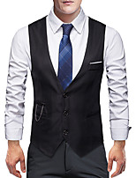 cheap -James Bond Gentleman Vintage Double Breasted Waistcoat Men's Slim Fit Costume Black / White / Burgundy Vintage Cosplay Party Halloween / Vest