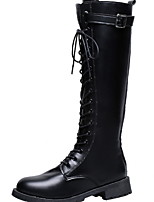 cheap -Women's Boots Flat Heel Round Toe PU Mid-Calf Boots Winter Black