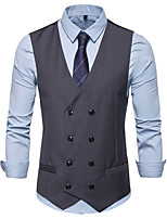 cheap -James Bond Gentleman Vintage Double Breasted Waistcoat Men's Slim Fit Cotton Costume Black / Navy Blue / Apricot Vintage Cosplay Party Halloween / Vest