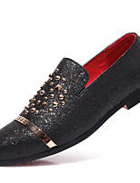 cheap -Men's Moccasin Leather Spring & Summer / Fall & Winter Business / Casual Loafers & Slip-Ons Breathable Black / Gold / Silver / Sparkling Glitter
