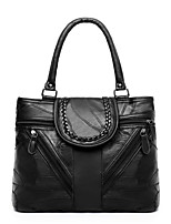 cheap -Women's Zipper Sheepskin Top Handle Bag Solid Color Black