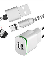 cheap -3 W Fast Charger / Portable Charger USB Charger EU Plug with Cable / Multi-Output / Charger Kit 2 USB Ports 2.1 A 100~240 V for S7 / S6 / Huawei