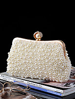 cheap -Women's Pearls Satin / Alloy Evening Bag Solid Color White / Beige