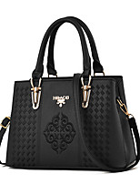 cheap -Women's Embroidery Faux Leather / PU Top Handle Bag Solid Color Black / Wine / Blushing Pink