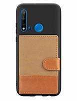 cheap -Case For Huawei Huawei P20 / Huawei P20 Pro / Huawei P20 lite Card Holder / with Stand / Ultra-thin Back Cover Solid Colored TPU / Canvas