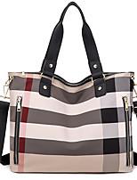 cheap -Women's Zipper Oxford Cloth Top Handle Bag Striped Black / Blue / Red