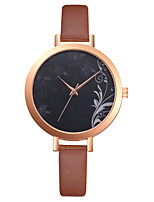 cheap -Women's Quartz Watches Cubic Zirconia Casual Elegant Brown PU Leather Chinese Quartz Brown Casual Watch 1 pc Analog One Year Battery Life