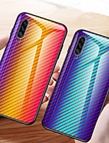 cheap -Carbon Fiber Gradient Tempered Glass Phone Case For Samsung Galaxy A71 A70 A90 A80 A50 A60 A40 A30 A20 A10 A20e A9 2018 A7 2018 Shockproof Back Cover Soft TPU edge Protection