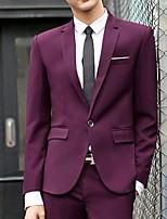 abordables -Noir / Rouge Bordeaux / Bleu Couleur Pleine Coupe Sur-Mesure Polyester Costume - Cranté Droit 1 bouton / costumes