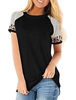 cheap -Women's Color Block Patchwork Print Loose T-shirt Basic Daily Wine / Black / Blue / Purple / Fuchsia / Khaki / Green / Light gray
