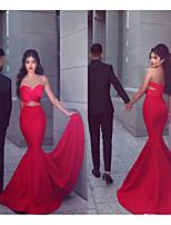 cheap -Mermaid / Trumpet Sweetheart Neckline Court Train Satin Elegant Formal Evening Dress 2020 with by JUDY&JULIA