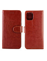 cheap -Case For Apple iPhone 11 / iPhone 11 Pro / iPhone 11 Pro Max Card Holder / Shockproof Full Body Cases Solid Colored PU Leather