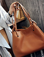 cheap -Women's PU Tote Solid Color Coffee