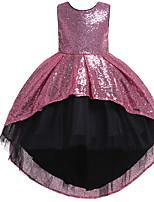 cheap -Kids Girls' Color Block Sleeveless Asymmetrical Dress Blushing Pink