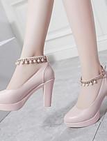 cheap -Women's Heels Chunky Heel Pointed Toe PU Winter Black / Pink / Beige
