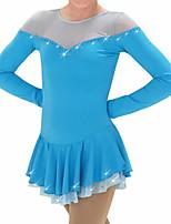 abordables -Robe de Patinage Artistique Femme Fille Patinage Robes Fuchsia Bleu Mosaïque Spandex Haute élasticité Entraînement Compétition Tenue de Patinage Mosaïque Cristal / Stras Manches Longues Patinage sur