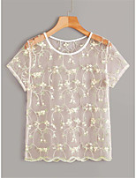 cheap -Women's Daily T-shirt - Floral White