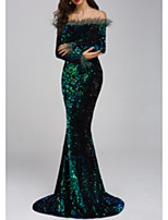 cheap -Mermaid / Trumpet Off Shoulder Floor Length Sequined Elegant Formal Evening Dress 2020 with Sequin / Tassel / Pleats by Lightinthebox