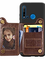 cheap -Case For Huawei Huawei P20 / Huawei P20 Pro / Huawei P20 lite Card Holder / with Stand / Ultra-thin Back Cover Solid Colored PU Leather / TPU