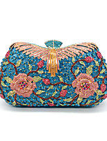 cheap -Women's Crystals / Hollow-out Alloy Evening Bag Floral Print Sky Blue