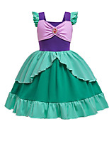 cheap -Mermaid Dress Masquerade Flower Girl Dress Girls' Movie Cosplay A-Line Slip Cosplay Halloween Green Dress Halloween Carnival Masquerade Cotton