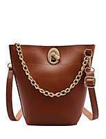 cheap -Women's Chain Polyester / PU Top Handle Bag Solid Color Black / Brown / Coffee