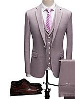 abordables -Violet / Gris Couleur Pleine Coupe Sur-Mesure Polyester Costume - Cranté Droit 1 bouton / costumes