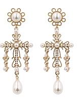 cheap -Women's Drop Earrings Earrings Dangle Earrings Criss Cross Cross Simple Holiday Romantic Cute Elegant Imitation Pearl Earrings Jewelry Gold / White For Wedding Gift Daily Street Work 1 Pair