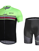 cheap -WECYCLE Men's Short Sleeve Cycling Jersey with Shorts Winter Black / Green Bike Clothing Suit Breathable 3D Pad Warm Quick Dry Reflective Strips Sports Solid Color Mountain Bike MTB Road Bike Cycling