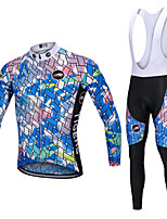 cheap -YORK TIGERS Men's Long Sleeve Cycling Jersey with Bib Tights - Kid's Winter Fleece Silicone Elastane Blue+Pink Bike Jersey Bib Tights Thermal / Warm Breathable 3D Pad Quick Dry Reflective Strips