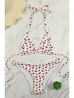 cheap -Women's Basic Yellow Red Halter Cheeky Tankini Swimwear - Floral Print S M L Yellow