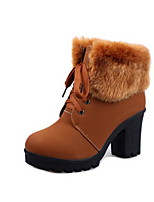 cheap -Women's Boots Chunky Heel Round Toe Suede Booties / Ankle Boots Fall & Winter Black / Brown